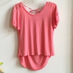 Betsey Johnson Coral Hi-Low Lounge Top Tie-neck S
